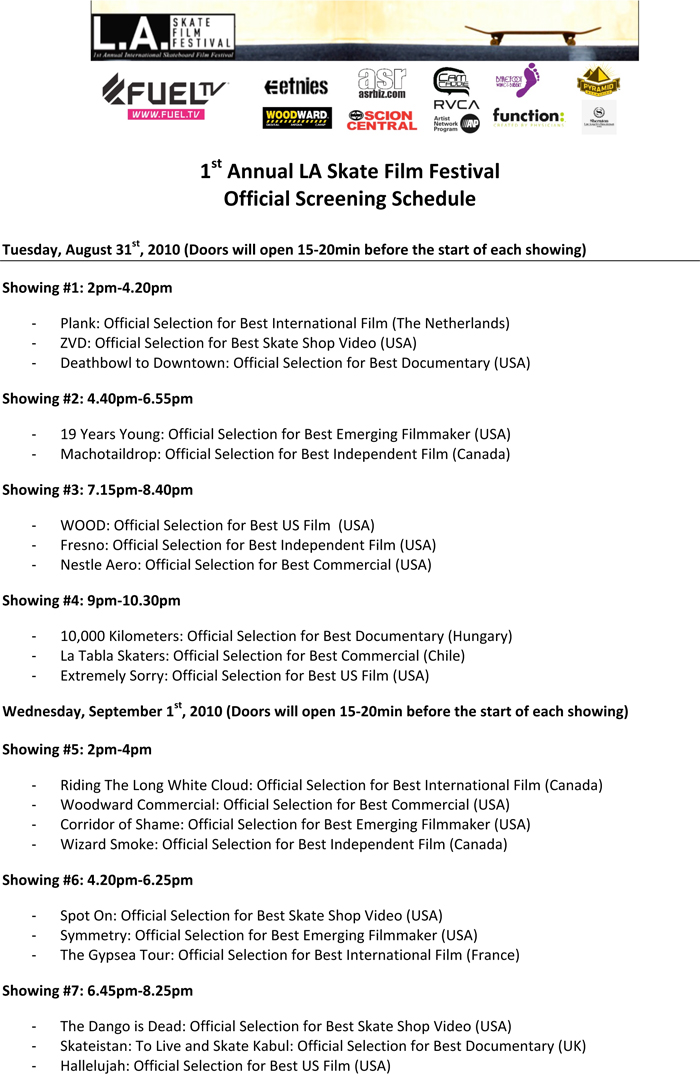 1st Annual LA Skate Film Festival - Official Screening Schedule