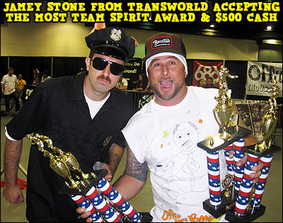Jamey Stone accepts the Most Team Spirit Award for Transworld